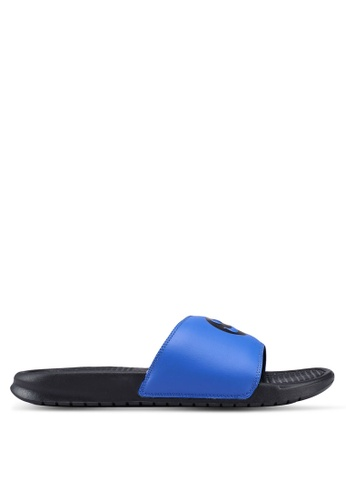 "Nike black and blue Nike Benassi ""Just Do It."" Print Sandals 95EE4SH175E833GS_1"