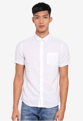 Burton Menswear London white White Short Sleeve Linen Shirt 4D595AADD2CC3EGS_1