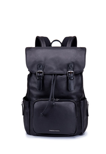 "ENZODESIGN black Enzodesign Cow Nappa Leather Wallet Multi Pockets 15"" Laptop Backpack 00E25AC2A48D70GS_1"