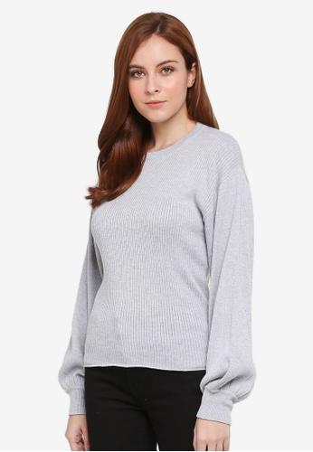 Zalia grey Knitted Puff Sleeve Sweater 7FAECAAE3530C2GS_1