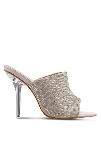 Public Desire 米褐色 鑽飾透明穆勒鞋 1F5D2SH91D19BEGS_1