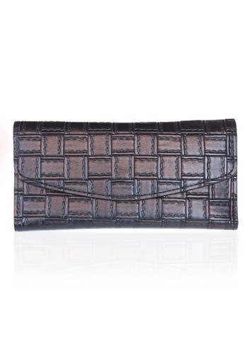 VERNYX - Woman's Square Braided Wallet DO427 Black - Dompet Wanita