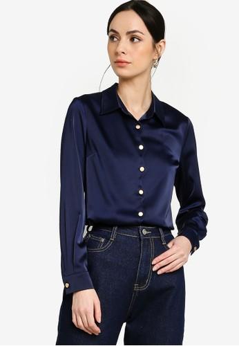 Zalia blue Scallop Border Collar Shirt 68238AA05EA09BGS_1
