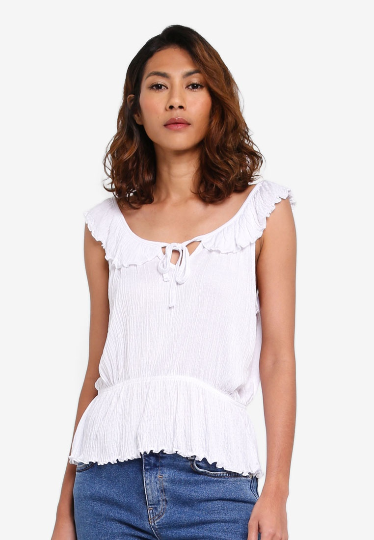 Strap Lucy Ruffle Cotton Top On White F4SwxTq