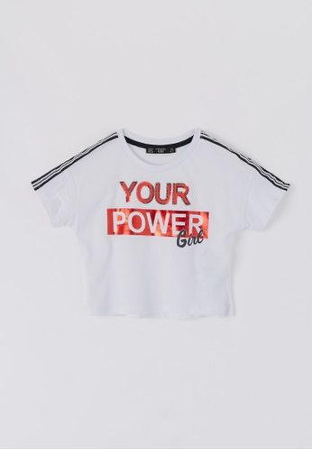 Terranova white Girls' Crop T-shirt With Slogan D36ECKA13AD633GS_1