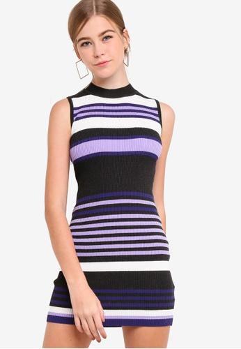 Something Borrowed multi Mock Neck Bodycon Knit Dress 9A66BAA15B6679GS_1