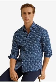 fdbe7b72ef5 MANGO Man blue and navy Slim-Fit Printed Cotton Shirt EF977AA93AB856GS 1