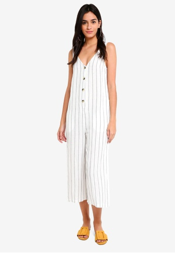 TOPSHOP black Stripe Button Through Jumpsuit B8127AAC43643FGS_1