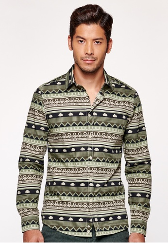 United Colors of Benetton green Slim Fit Cardigan with Allover Pattern 525BFAABD6DB26GS_1