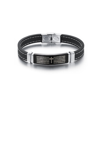 Glamorousky silver Simple Classic Cross Scripture Geometric 316L Stainless Steel Silicone Bracelet A25B1AC6C59196GS_1