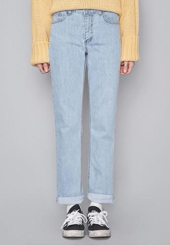 天空藍直筒牛仔褲, 服飾, 多色zalora 台灣牛仔褲