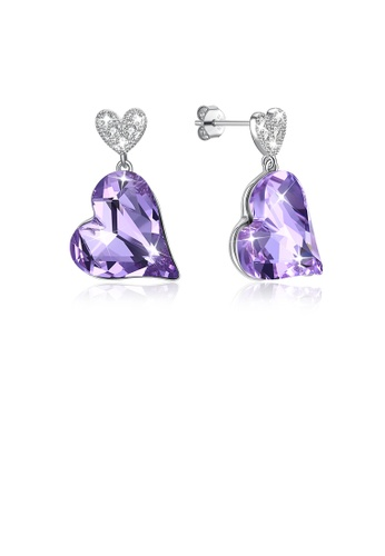 Glamorousky white 925 Sterling Silver Fashion Romantic Heart Earrings with Purple Austrian Element Crystal 4C80CACFFE9533GS_1