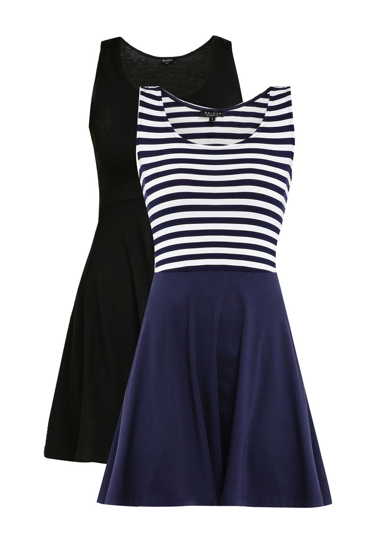 pack BASICS White Basic ZALORA Black Stripe 2 Navy Navy Dress Flare Fit and fgqZdOx4