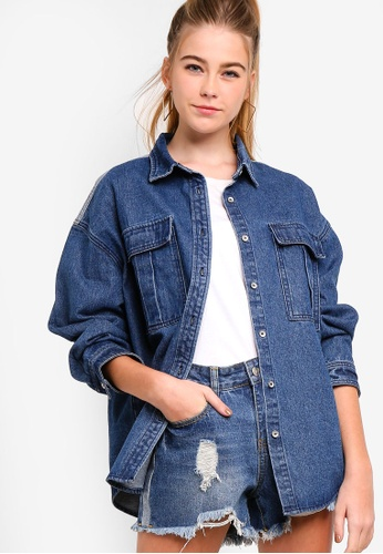 Something Borrowed blue Contrast Fabric Denim Shirt A20BDAA118EFD4GS_1