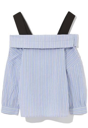 b+ab blue Off shoulder stripe blouse C7711AA6BF3147GS_1