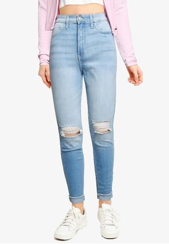 Hollister blue Medium Knee Destroy Jeans 60769AAF67C16CGS_1