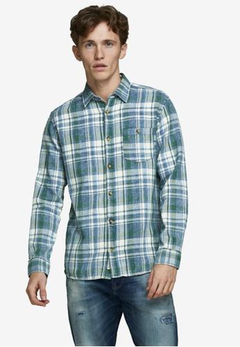 Jack & Jones green Hans Long Sleeve Shirt 7F1BEAA6AE55C5GS_1