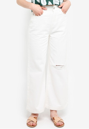 Something Borrowed white Ripped Wide Leg Jeans 9A451AA7DCBF2AGS_1