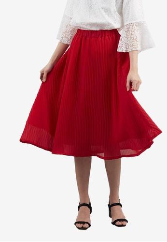 Berrybenka red Claudia Pleated Skirt 61E15AADBC2EAFGS_1