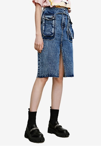 URBAN REVIVO blue Denim Slit Skirt B5712AA5E63008GS_1