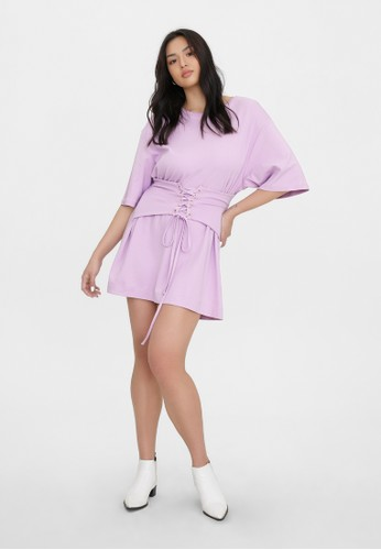 Pomelo purple Sustainable Corset Style Loose Dress - Purple D9819AA5AD2BB7GS_1