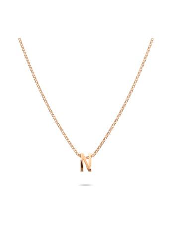 Bullion Gold gold BULLION GOLD Initials Brick Alphabet Letter Necklace Rose Gold Layered Steel Jewellery - N 0ECD0ACA4C403AGS_1