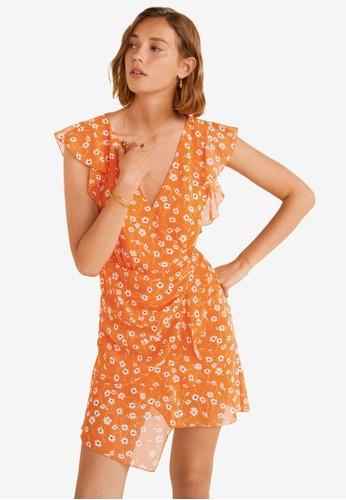 Mango 橘色 Flower Chiffon Dress 70F58AA1BBE443GS_1