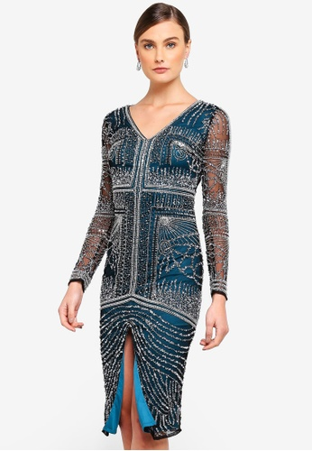Frock and Frill navy Farley Embellished Front Split Dress 6EED3AAB1292E5GS_1