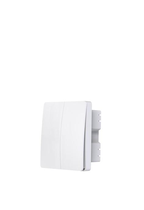 UKGPro KinSwitch 白色2鍵RF+WiFi無線一體化智能開關,室內室外防水防塵防漏電改裝安裝無須電池無須佈線隨意貼RF433無線發射訊號電燈窗簾抽氣扇場景燈制雙控多控首選(U-EWS0254-W)