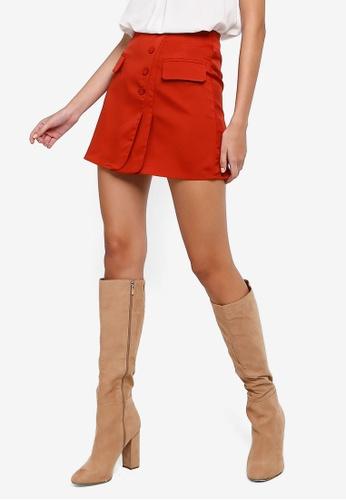 ZALORA orange Button Detail Overlap Skirt 8986AAA15C7B7BGS_1