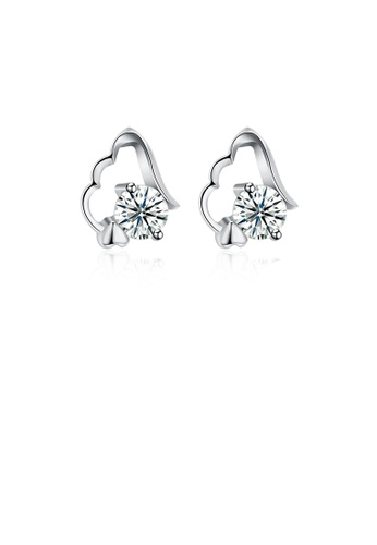 Glamorousky white 925 Sterling Silver Simple Mini Elegant Exquisite Earrings and Ear Studs with Cubic Zircon 98758ACAF3EF35GS_1