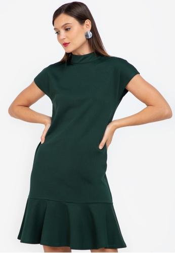 ZALORA WORK green Mock Neck Fluted Hem Dress 6CB38AA8DD46D9GS_1