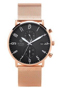 harga Royal London Gents Classic Watch RL 41352-14 Black Rose Gold Stainless Steel Mesh Band Zalora.co.id