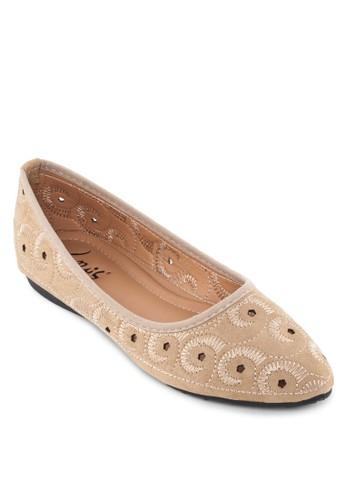 esprit鞋子繡花尖頭平底鞋, 女鞋, 鞋
