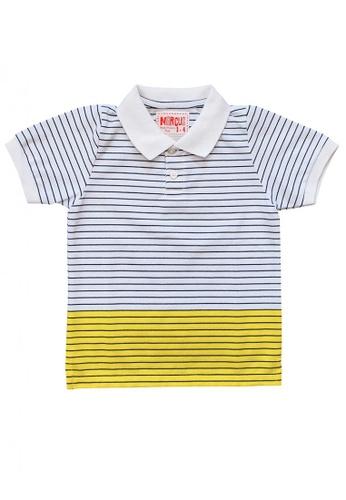 Marcus white Rongy Striped Polo Shirt 1BD30KA001B965GS_1