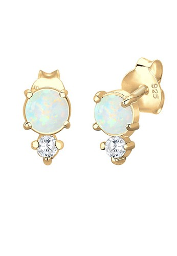 Elli Germany gold Perhiasan Wanita Perak Asli - Silver Anting Circle Trend Geo Zirconia Gold Plated Emas Emas FE483AC2AB8639GS_1