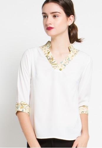 FAME white 7/8 Sleeves Blouse FA157AA91TLCID_1