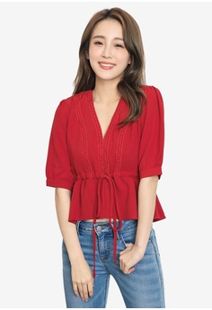 95a450c79031d Tokichoi red V-Neck Tie-Front Ruffle Hem Top 8706CAAA8FE5E3GS 1