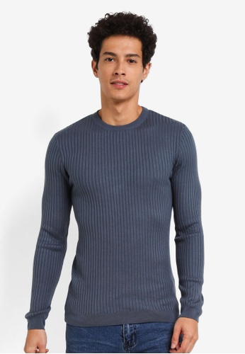 Burton Menswear London blue Blue Muscle Fit Crew Neck Jumper 3D812AA31A3F10GS_1