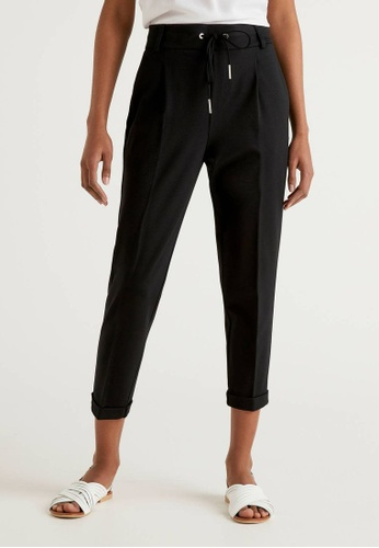 United Colors of Benetton black Trousers with Drawstring and Cuff 70239AAD27DA17GS_1