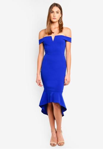 Ax Paris Blue Bardot Fish Tail Midi Dress A271baaa6fb143gs 1