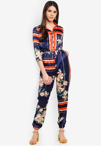 MISSGUIDED multi Printed Long Sleeve Utility Jumpsuit 24E9BAA8CC82A3GS_1