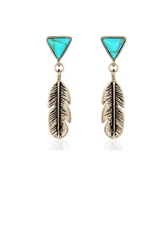 Glamorousky silver Retro The Style Of National Leaf Earrings with Fashion Turquoise EEF15AC690E3EEGS_1