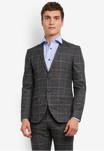 Selected Homme grey Checkered Suit Blazer SE364AA0S3WHMY_1