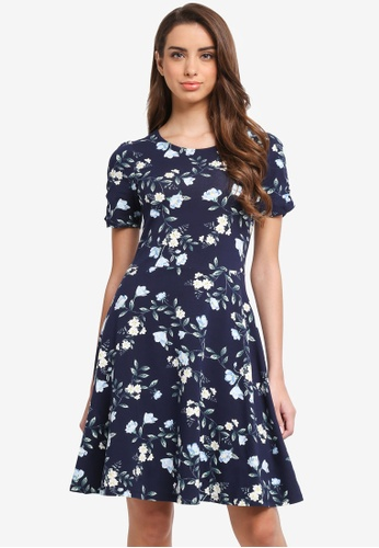 Dorothy Perkins blue and navy Floral Ruched Sleeve Dress 6898BAACF04762GS_1