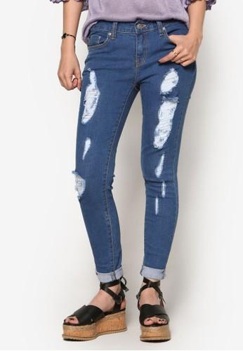 復古風抽鬚丹寧窄管褲, 服飾esprit專櫃, 牛仔褲