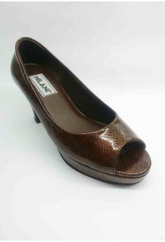 Executive Snake Skin Open Toe Pumps half-inch Plat form