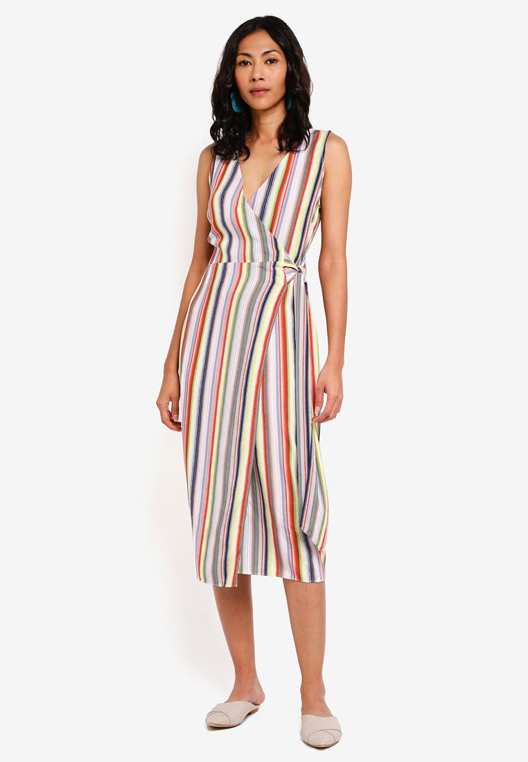 Dress Midi Candy Multi Stripe WAREHOUSE EqTxU5v6