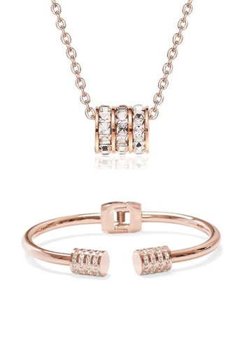 CELOVIS gold CELOVIS - Orabelle Necklace paired with Leah Bangle Zirconia Jewellery Set in Rose Gold D16DFAC9D161F9GS_1