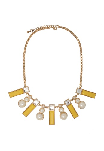 Jaysa Collection yellow Yellow Resin Ornament Necklace with Faux Pearls JA875AC0GE8HSG_1